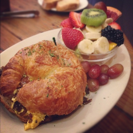 Omelette and bacon stuffed croissant- so good you begin to doubt your own sanity.