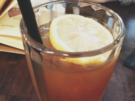 Slice of lemon amidst a fruity blend.