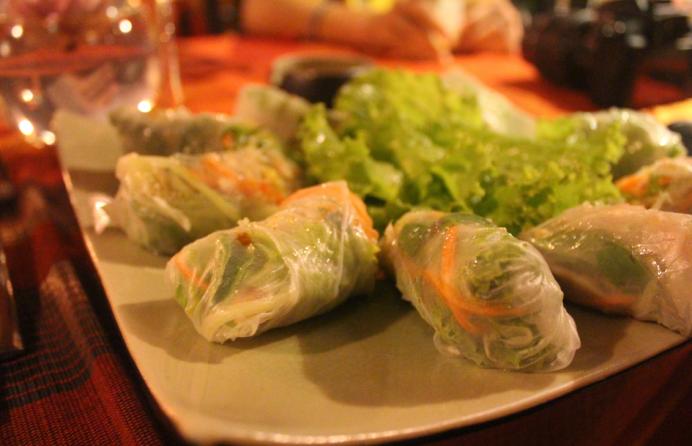 Fresh spring rolls - crisp, clear, inviting.