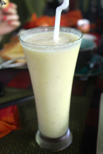 Just one of the many complimentary drinks from the chef; fresh mango fruit shake.