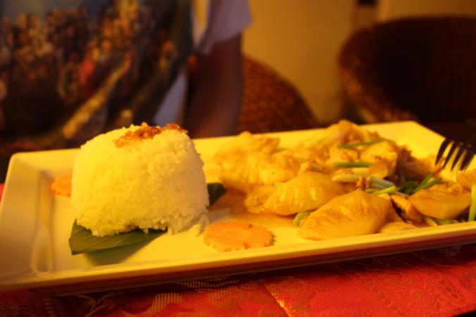 Pineapple, pork, rice.